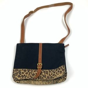 Fossil Black Leopard Animal Printed Shoulder Bag